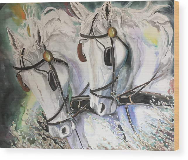 Horses Wood Print featuring the mixed media The White Team by Crystal Newton