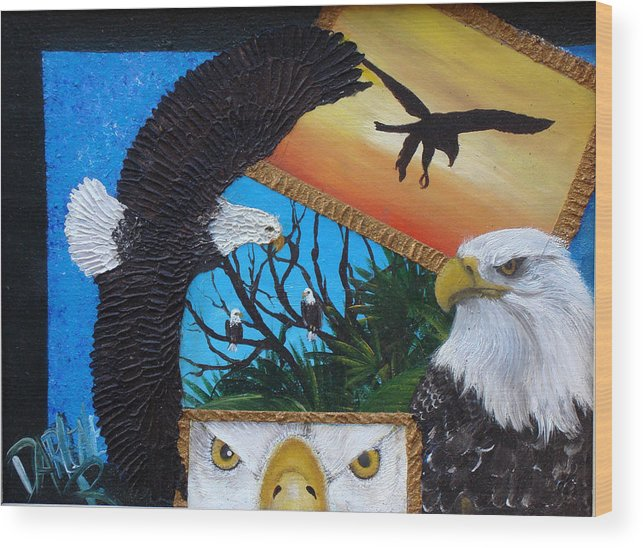 Eagle Wood Print featuring the painting Those Eyes  Eagle by Darlene Green