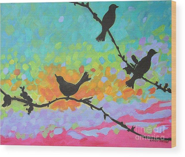 Urban Wood Print featuring the painting Three Birds by Karen Fields