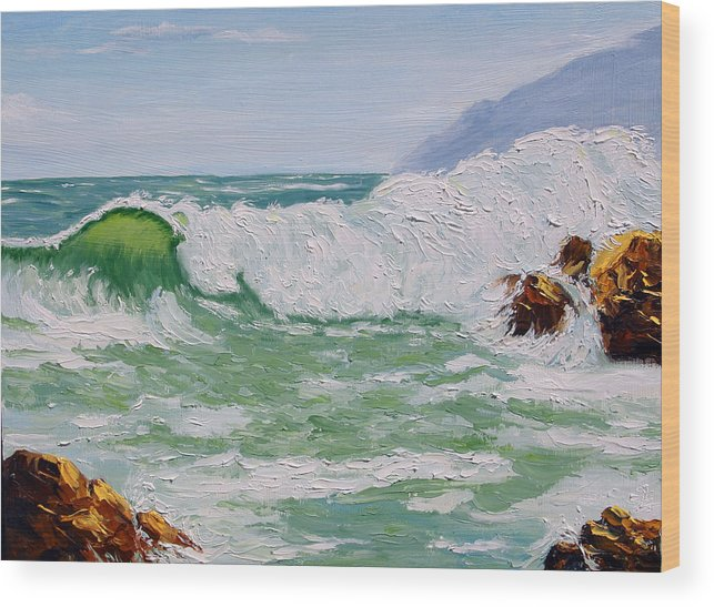 Sea Scape Wood Print featuring the painting Thundering Surf by Lorraine Foster