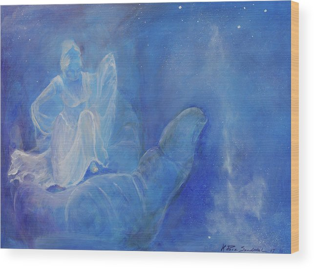 Cosmic Wood Print featuring the painting Thy Right Hand Upholdeth Me by Kathleen Sandoval