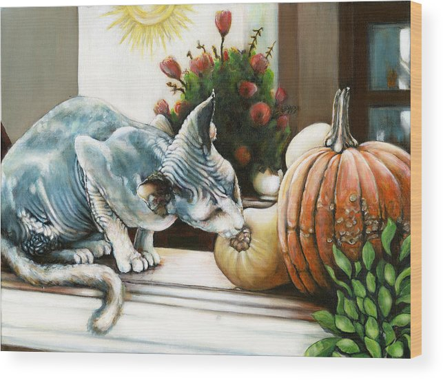 Hairless Cat And Guords Wood Print featuring the painting Tim's Cat Fluffy Number Two by Leo Malboeuf