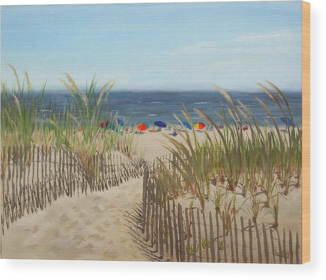Beach Wood Print featuring the painting To The Beach by Lea Novak