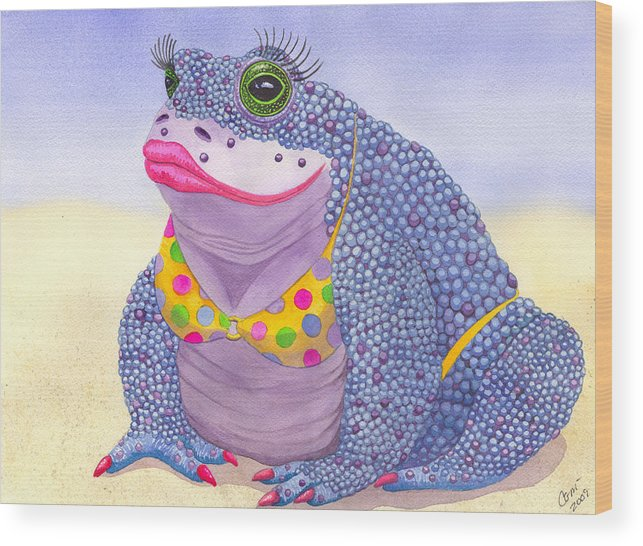 Toad Wood Print featuring the painting Toadaly Beautiful by Catherine G McElroy