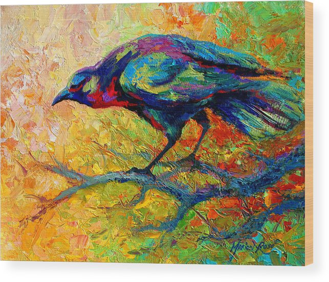 Crows Wood Print featuring the painting Tree Talk - Crow by Marion Rose