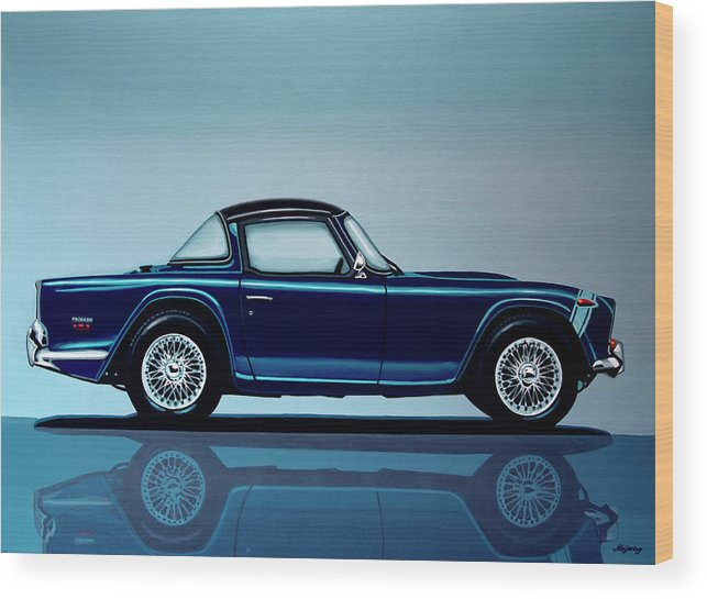 Triumph Tr5 Wood Print featuring the painting Triumph Tr5 1968 Painting by Paul Meijering
