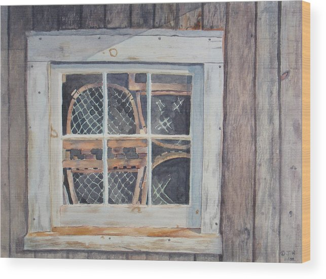 Lobster Traps Wood Print featuring the painting Tucked Away by Debbie Homewood
