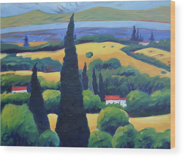 Tuscany Wood Print featuring the painting Tuscan Pines And South Bay by Gary Coleman