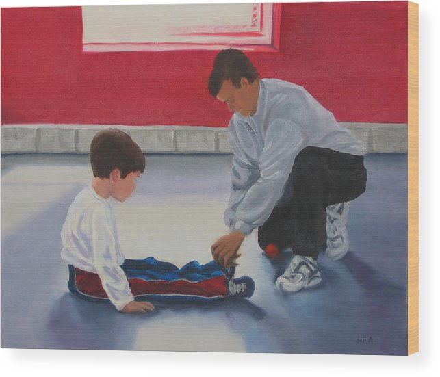 Child Wood Print featuring the painting Tying Shoes by Lea Novak