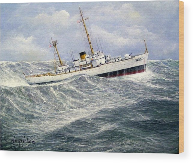 United States Coast Guard Cutter Ingham In Heavy Seas Wood Print featuring the painting United Statescoast Guard Cutter Ingham by William H RaVell III