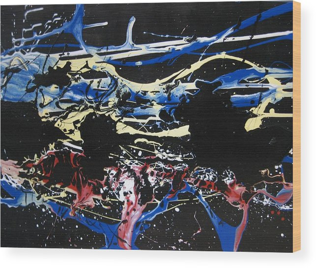 Abstract Wood Print featuring the painting Untitled 3 by Paul Freidin