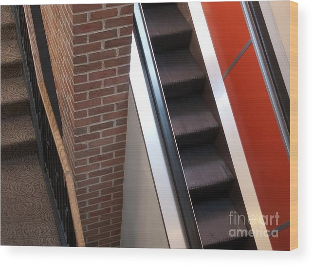 Escalator Wood Print featuring the photograph Up And Down by Ann Horn