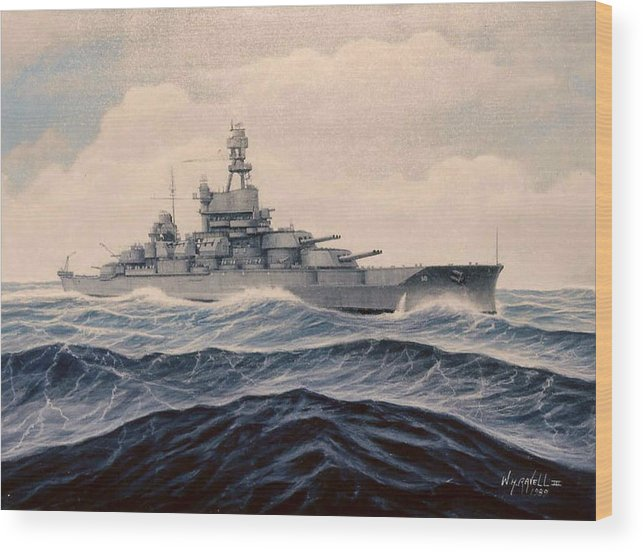 Marine Art Wood Print featuring the painting Uss Pensylvania by William H RaVell III
