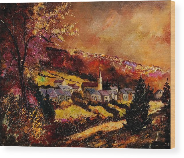 River Wood Print featuring the painting Vencimont Village Ardennes by Pol Ledent