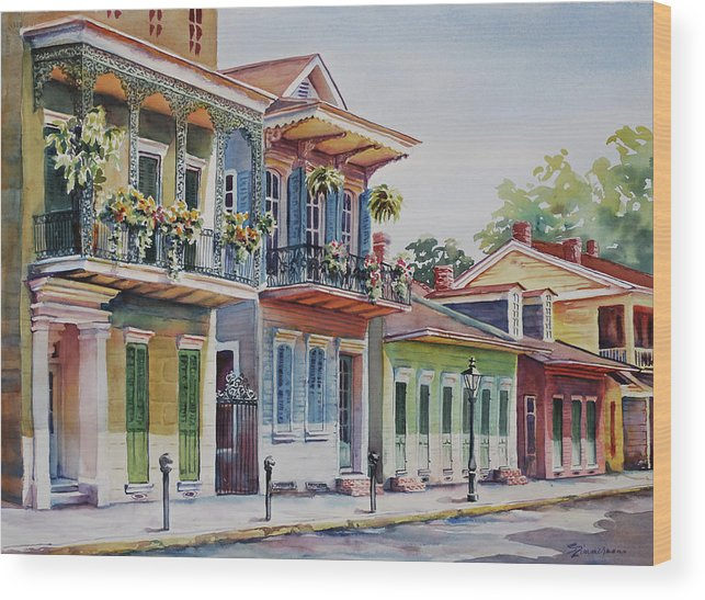 French Quarter Wood Print featuring the painting Vieux Carre by Sue Zimmermann