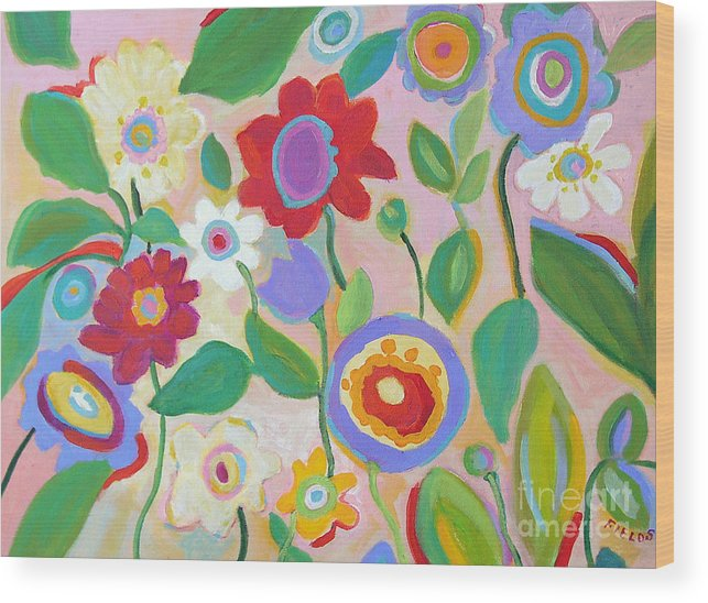 Vintage Style Wood Print featuring the painting Vintage Garden by Karen Fields