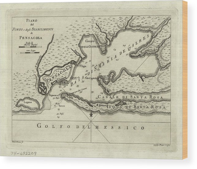 Map Pensacola Florida.Vintage Map Of Pensacola Florida 1763 Wood Print By
