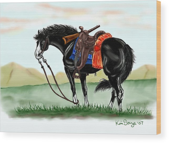 Horses Wood Print featuring the digital art Waiting On The Boss by Kim Souza