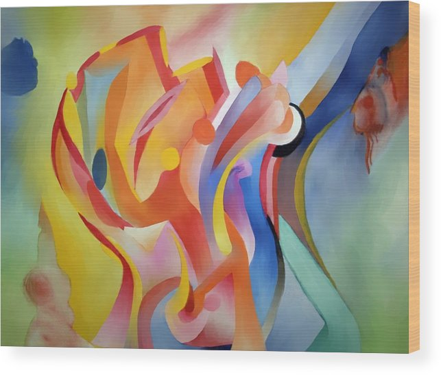 Abstract Wood Print featuring the painting Warping Reality by Peter Shor