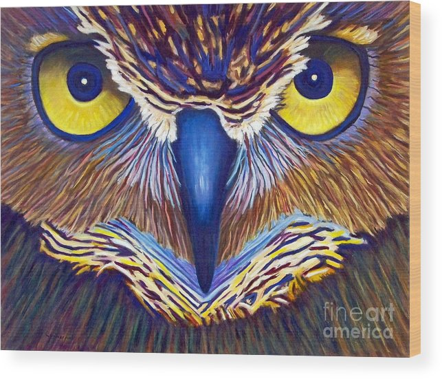 Owl Wood Print featuring the painting Watching by Brian Commerford