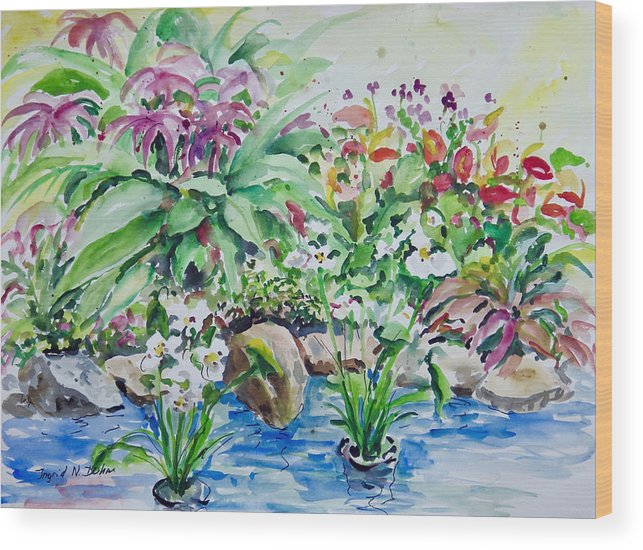 Water Wood Print featuring the painting Water Garden by Ingrid Dohm
