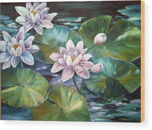 Oil Painting;waterlilies;water; Wood Print featuring the painting Waterlilies by Lois Mountz