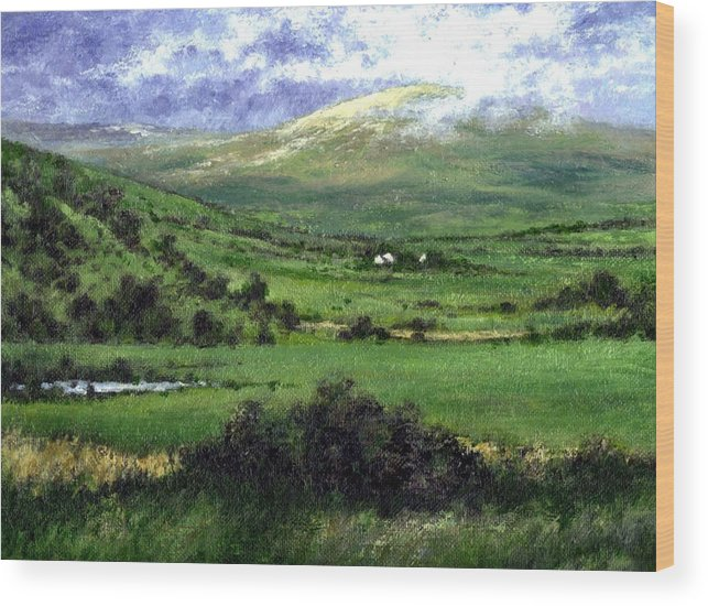 Landcape Wood Print featuring the painting Way To Ardara Ireland by Jim Gola