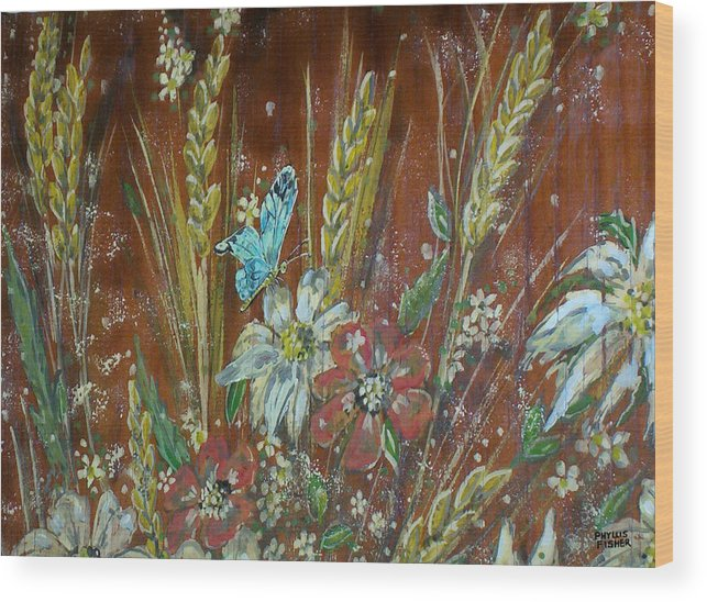 Flowers Wood Print featuring the painting Wheat 'n' Wildflowers I by Phyllis Mae Richardson Fisher