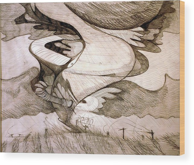 Twister Wood Print featuring the drawing Whipping Wires by Jame Hayes