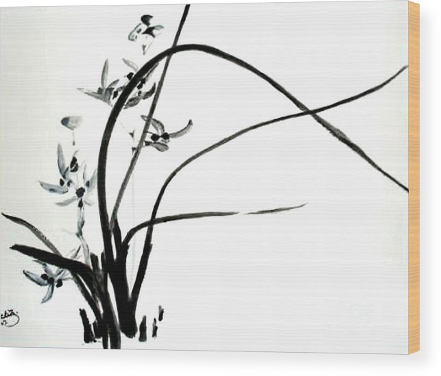 Sumi-e Wood Print featuring the painting Wild Orchid by Sibby S