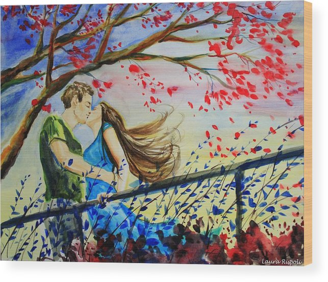 Wind Wood Print featuring the painting Windy Kiss by Laura Rispoli