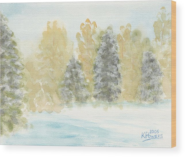 Winter Wood Print featuring the painting Winter Trees by Ken Powers