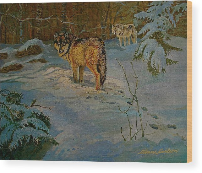 Wolves Wood Print featuring the painting Wolves Of Maine by Alan Carlson