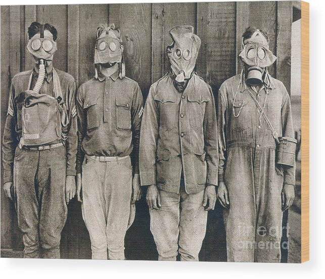 American Wood Print featuring the photograph World War I: Gas Warfare by Granger