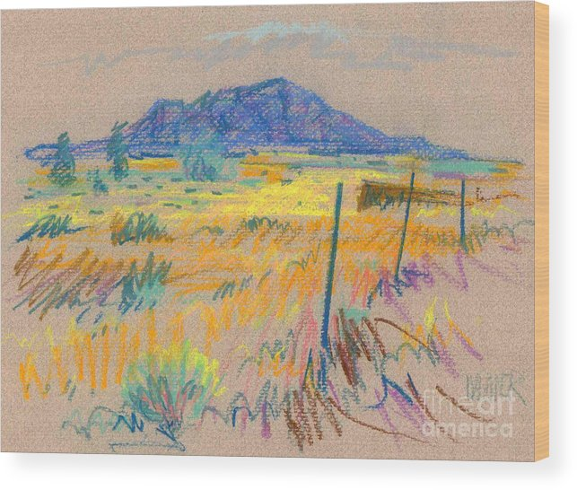 Pastel Wood Print featuring the painting Wyoming Roadside by Donald Maier