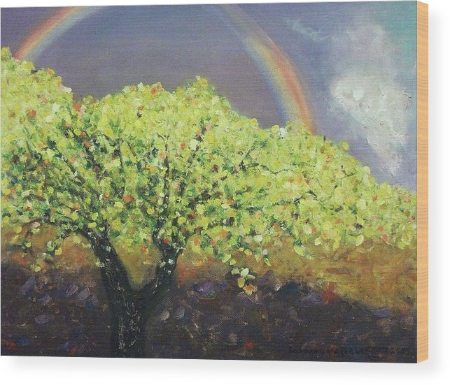 Tree Wood Print featuring the painting Yellow Tree And Purple Sky by Suzanne Marie Leclair