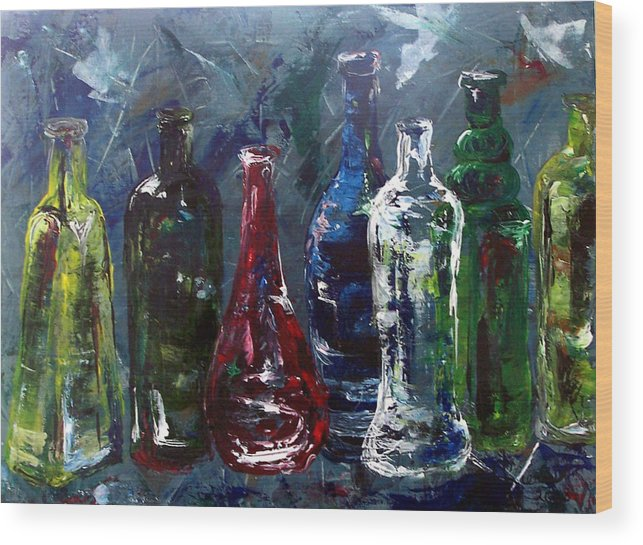 Bottle Wood Print featuring the painting You Bet Your Glass by Amanda Sanford