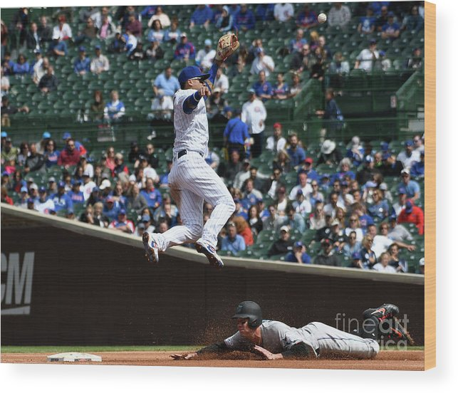People Wood Print featuring the photograph Miami Marlins V Chicago Cubs by David Banks