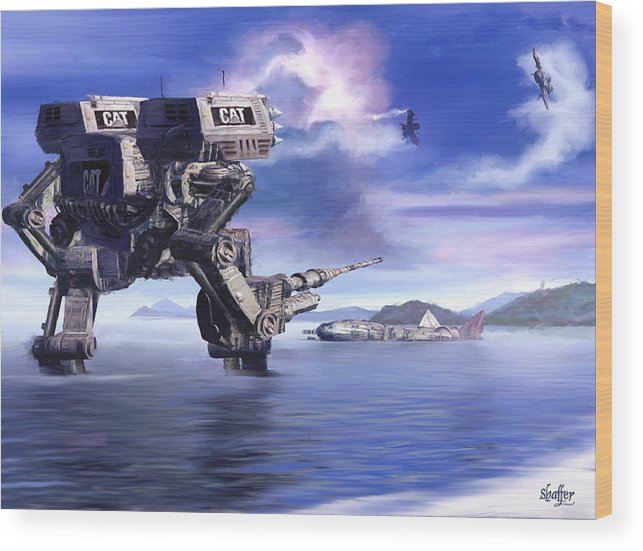 Science Fiction Wood Print featuring the mixed media 501st Mech Defender by Curtiss Shaffer