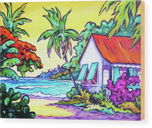 Art Wood Print featuring the painting Cayman Cottage On The Bay by John Clark