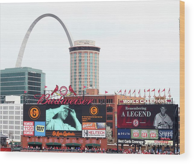 St. Louis Cardinals Wood Print featuring the photograph Cincinnati Reds V St. Louis Cardinals by Elsa