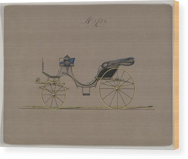 Vintage Wood Print featuring the painting Design For Cabriolet Or Victoria, No. 3723 1881 by MotionAge Designs