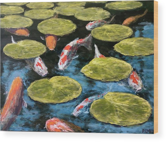 Koi Wood Print featuring the painting Koi Fish by Paul Emig