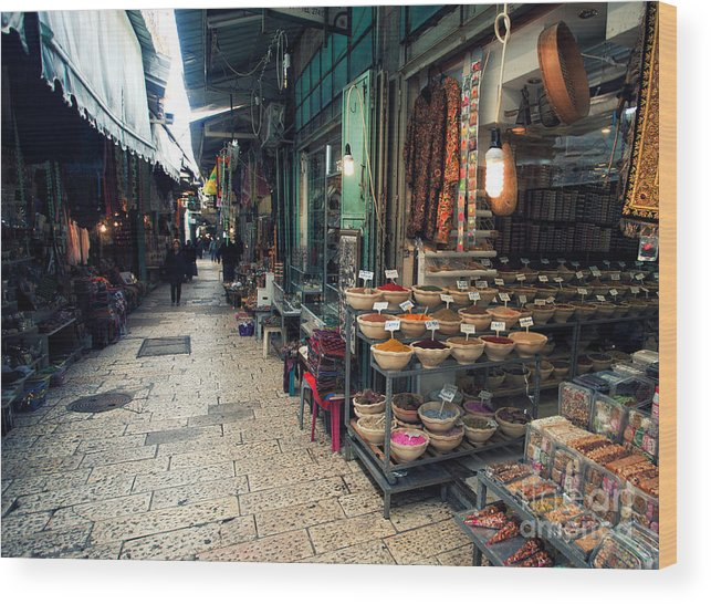 Wood Print featuring the photograph Market In Old City Of Jerusalem by Georgy Kuryatov