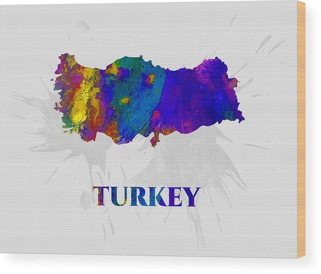 Turkey Wood Print featuring the mixed media Turkey, Map, Artist Singh by Artist Singh MAPS