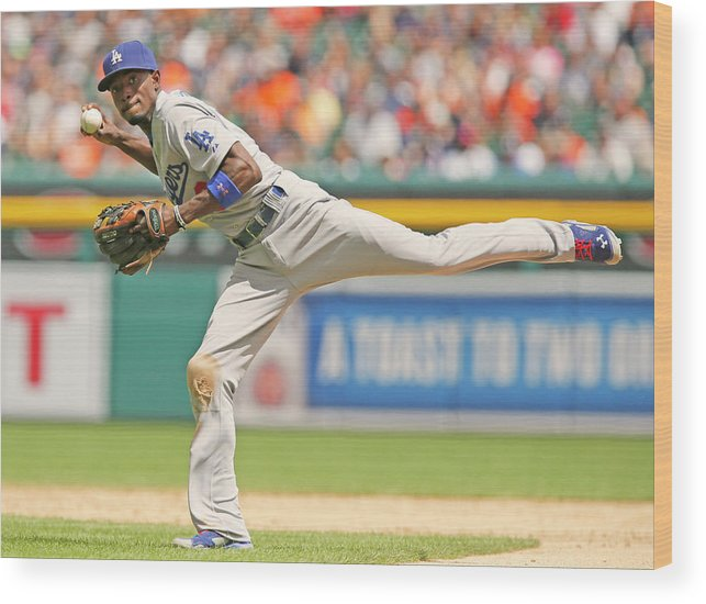 American League Baseball Wood Print featuring the photograph Dee Gordon by Duane Burleson