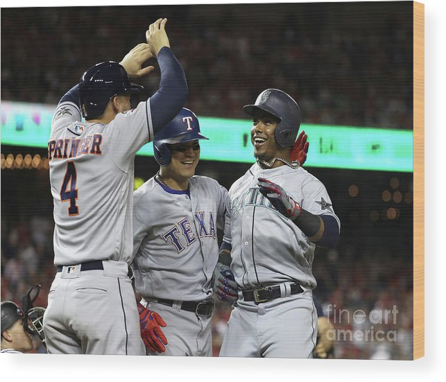 Three Quarter Length Wood Print featuring the photograph George Springer, Jean Segura, And Shin-soo Choo by Patrick Smith