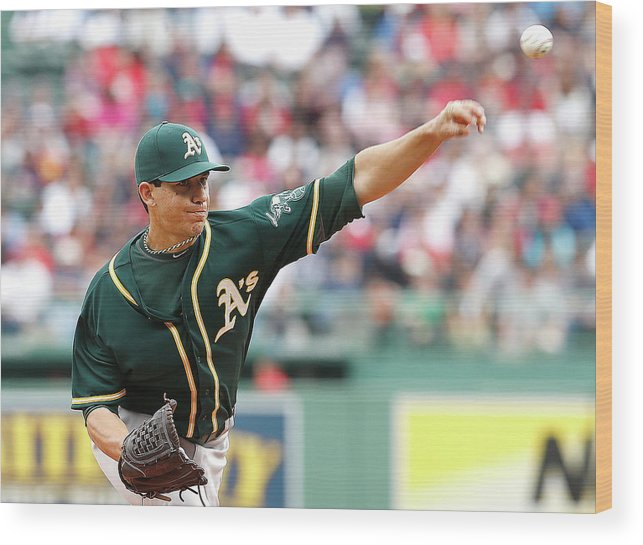 American League Baseball Wood Print featuring the photograph Tommy Milone by Jim Rogash