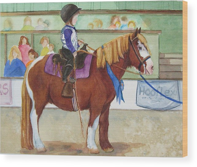 Equine Wood Print featuring the painting Blue Ribbon Day by Gina Hall