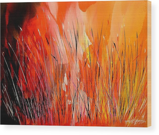 Abstract Wood Print featuring the painting Blaze by Yvette Sikorsky
